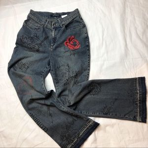 Betty Barclay graphic embroidered flare jeans